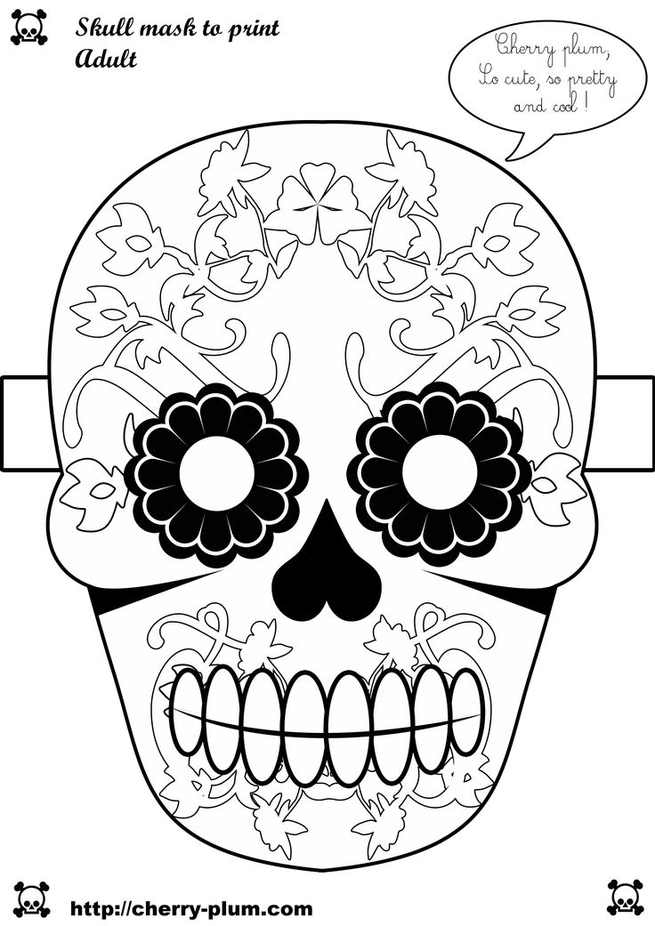 skull mask to print papercraft pinterest dia de skull mask and masks. Black Bedroom Furniture Sets. Home Design Ideas