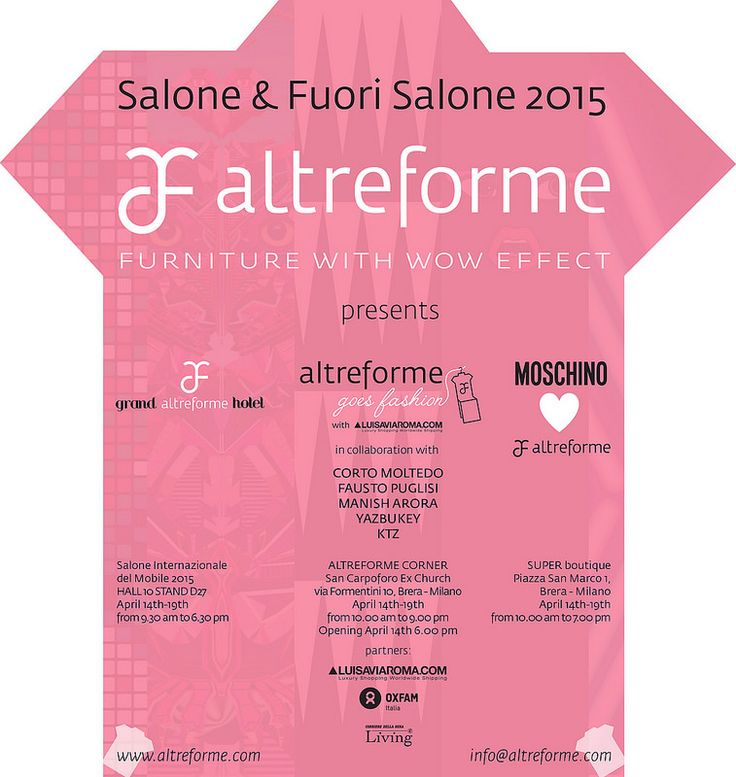 #altreforme invites you at #grand altreforme hotel #stand @iSaloni 2015  #grandaltreformehotel #altreformegoesfashion #myminisalvador #moschinolovesaltreforme @moschinofficial  #designweek#interior #home #decor #homedecor #furniture with #woweffect #aluminium