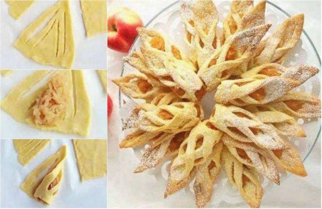 Тесто раскатать в форме круга, нарезать на кусочки, как на картинке, добавить тертые яблоки и завернуть.