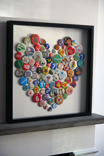 Tutorial: Button Badge Heart Picture...would look so cute done in Starr Hill beer bottle caps