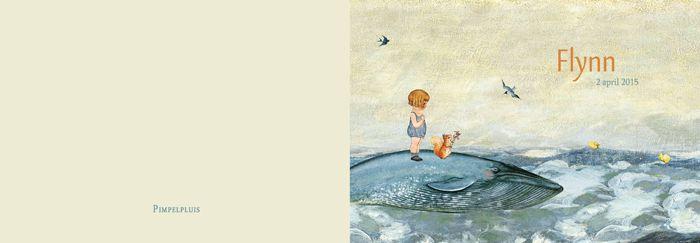 Geboortekaartje Flynn - dubbel kaartje - voorkant en achterkant - Pimpelpluis - https://www.facebook.com/pages/Pimpelpluis/188675421305550?ref=hl (# jongen - schilderij - walvis - dieren - meisje - zusje - broertje - eekhoorn - vogel - zee - ballon - origineel)