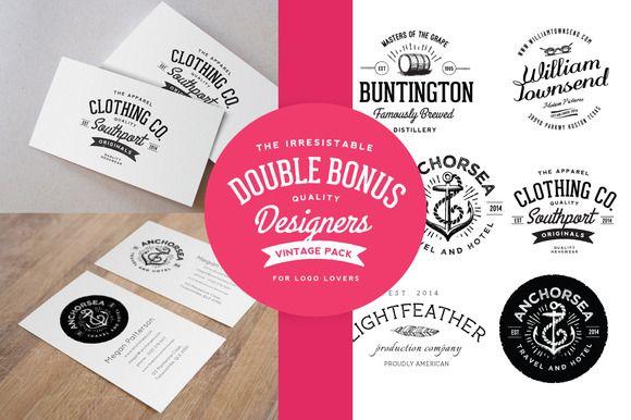 Business card mockup & Vintage Logos by Nicky Laatz on Creative Market