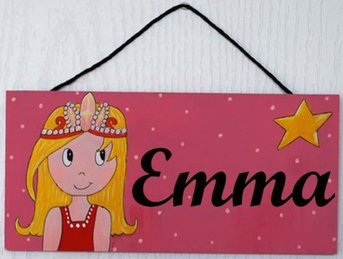 Bienvenue ! Plaque de porte personnalisée Princesse