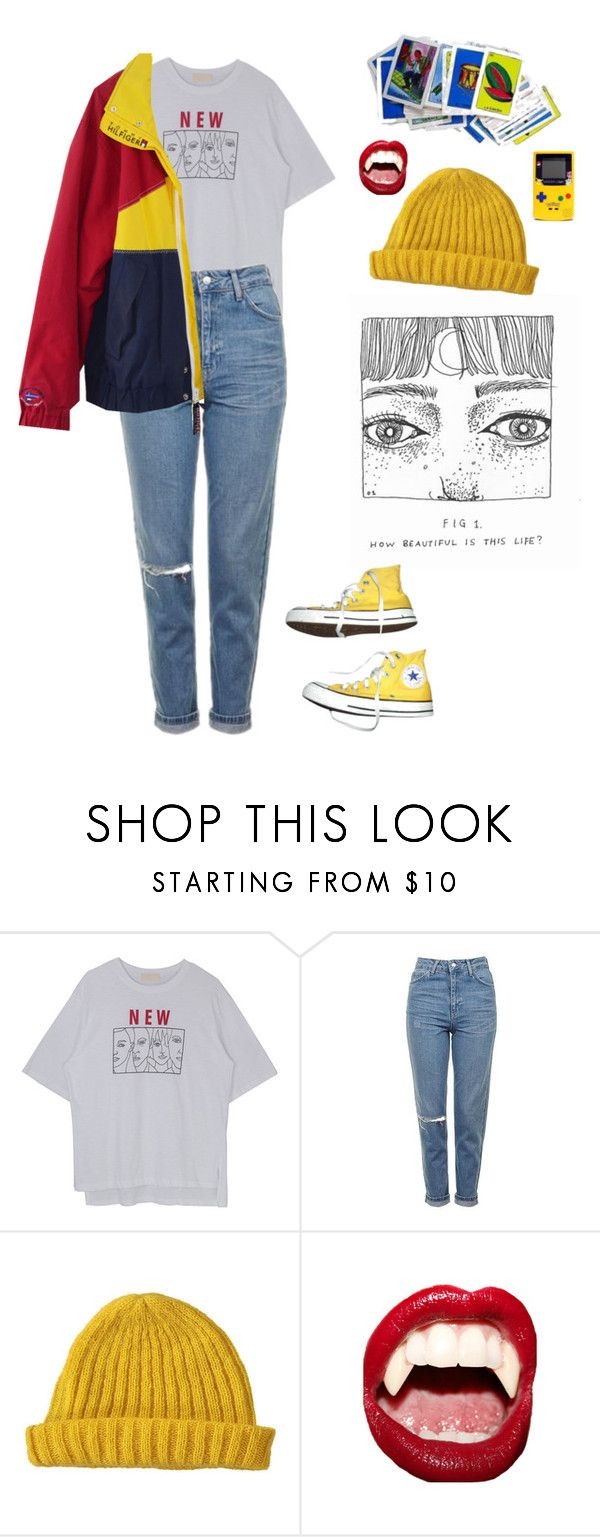 """Untitled #52"" by thishazyheadofmine on Polyvore featuring Topshop, Lowie, Manic Panic NYC and Converse"