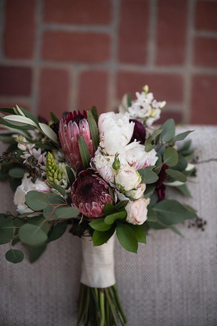 Elegant wedding bouquet with protea (Viera Photographics)