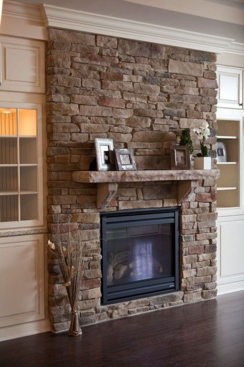 Stone Fireplace with Stone Mantel