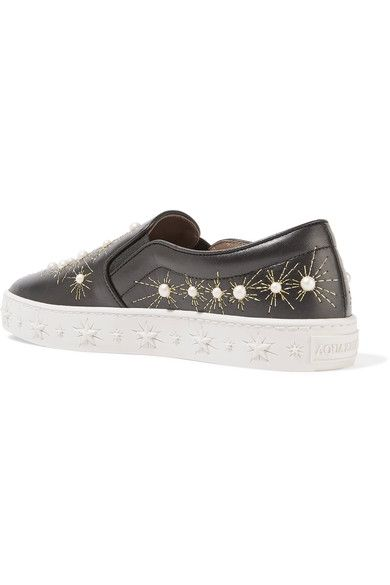 Aquazzura - Cosmic Embellished Embroidered Leather Slip-on Sneakers - Black - IT37