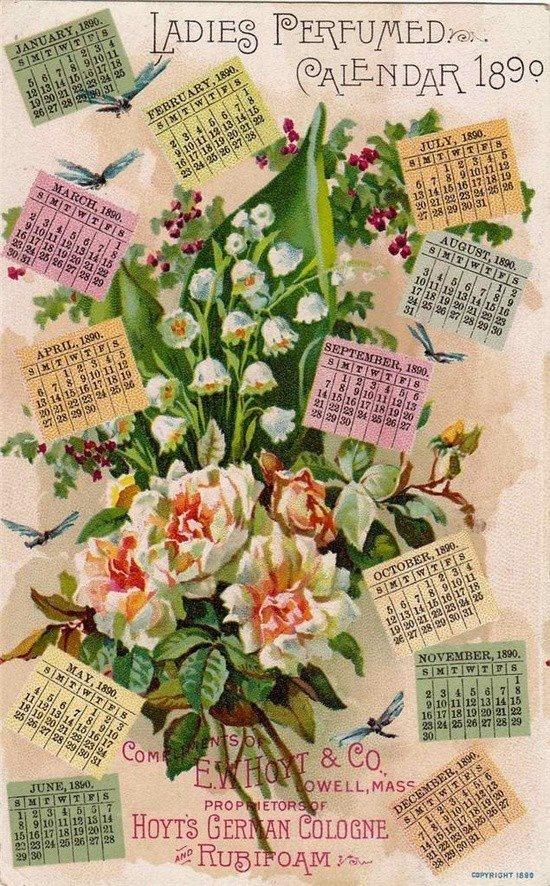 Gorgeous vintage perfumed postcard calender.
