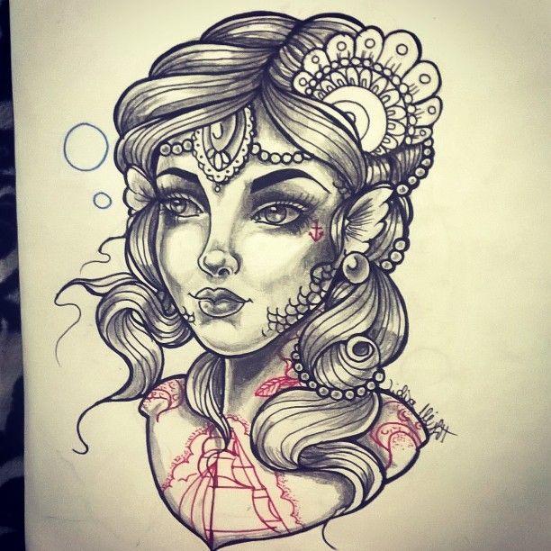 Traditional mermaid tattoos pinterest 39 te deniz k z for Traditional mermaid tattoo