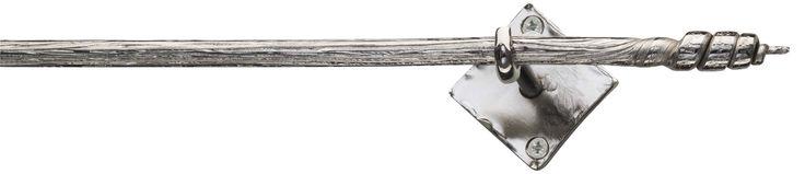 Bastone interamente forgiato a mano,  asta cannettata  Ø 14 mm. in tondino pieno, tutt'uno con i finali, supporti su misura. Finitura acciaio cromato LUCIDO o SATINATO