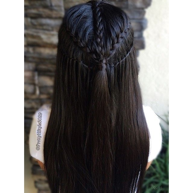 """Lace Braid into a Waterfall Twist Braid Inspired by @hairstyles_by_sabbi #halfdo #hair #hairpics #hairstyle #hairpost #frenchbraid #trenza #tranca…"""