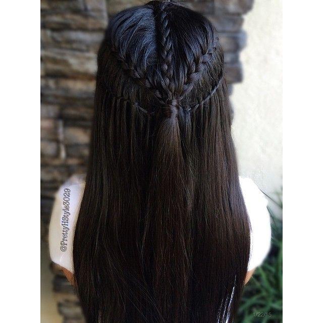 """Lace Braid into a Waterfall Twist Braid Inspired by @hairstyles_by_sabbi #halfdo #hair #hairpics #hairstyle #hairpost #frenchbraid #trenza #tranca…"""