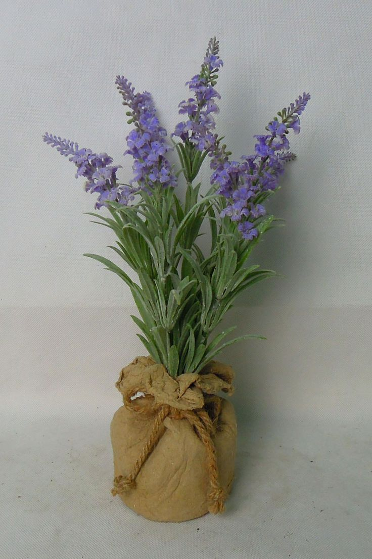lavender in paper mache pot , nice silk lavender