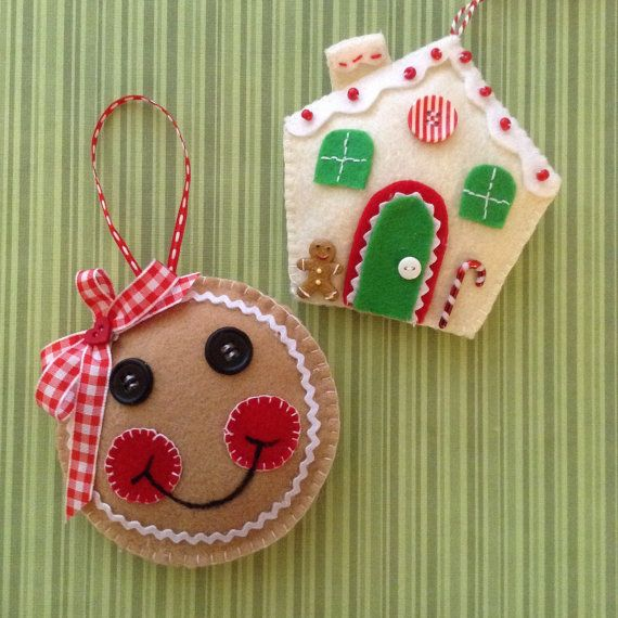 Christmas Gingerbread Ornaments / Felt Ornaments / by CraftsbyBeba