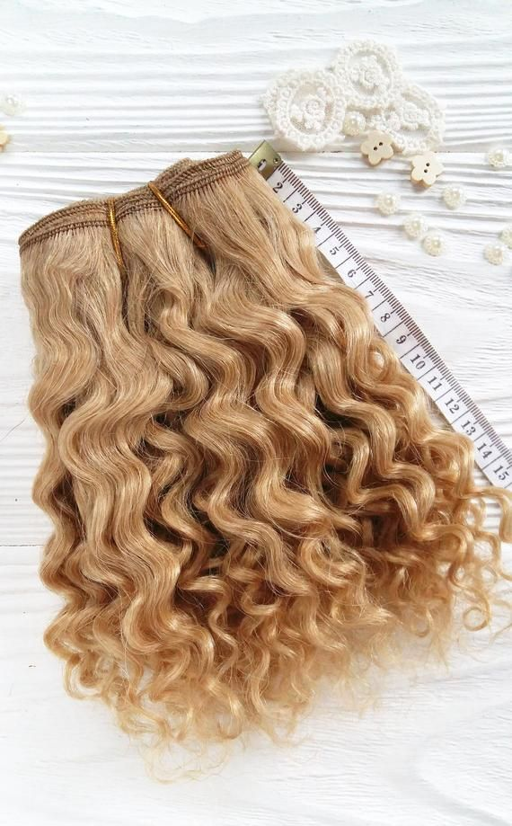 coarse mohair weft Golden Blond, jerry curly, dollmaking, curly hair golden blonde Blythe, BJD, Mon