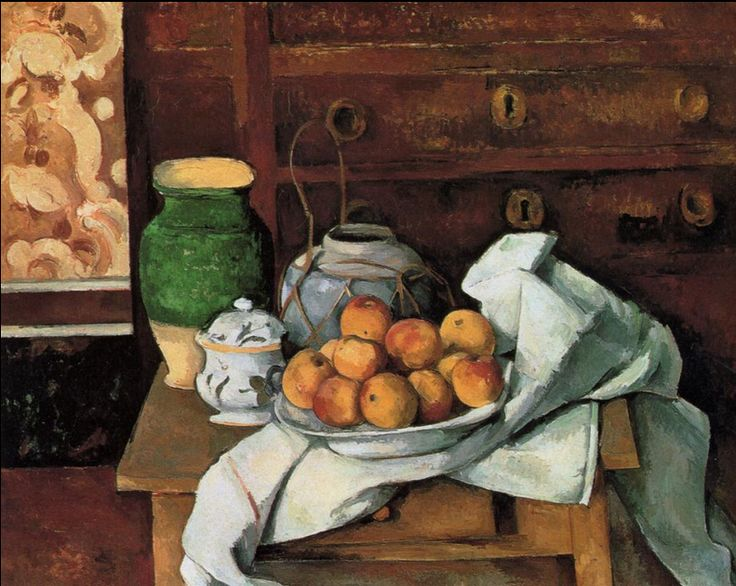 Vessels, Fruit and Cloth in front of a Chest.c.1885.by Paul Cezanne