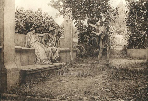 The Loving Tree by Tito Lessi, Antique 10x12 Sepia Engraving c1890s, From The Decameron by Giovanni Boccaccio, FREE SHIPPING $11.75
