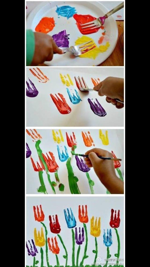 bloemen stempelen met een vork