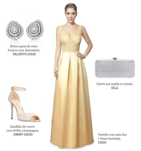 Look madrinha: vestido amarelo claro Cosh + brincos de diamantes Talento Joias + clutch prata Isla + sapato Jimmy Choo