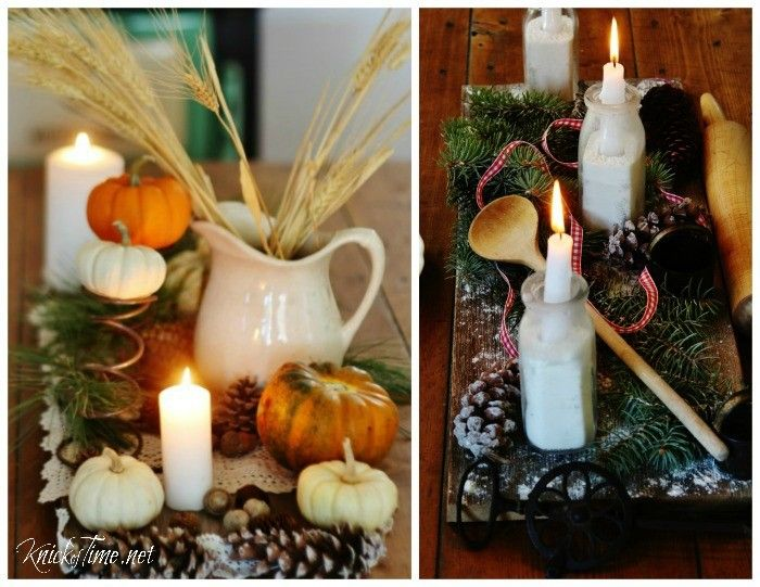 A weathered wood plank is the base for a rustic table centerpiece for Thanksgiving or Christmas - KnickofTime.net
