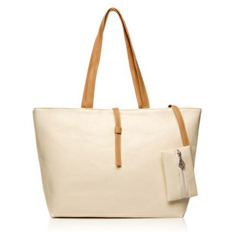 Beige Casual Women's Shoulder Bag With Color Matching and Small Wallet Design, $26.90