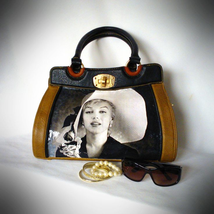 Decoupaged handbag eco leather Vintage Marylin Monroe by FeltBagsbyMarta on Etsy