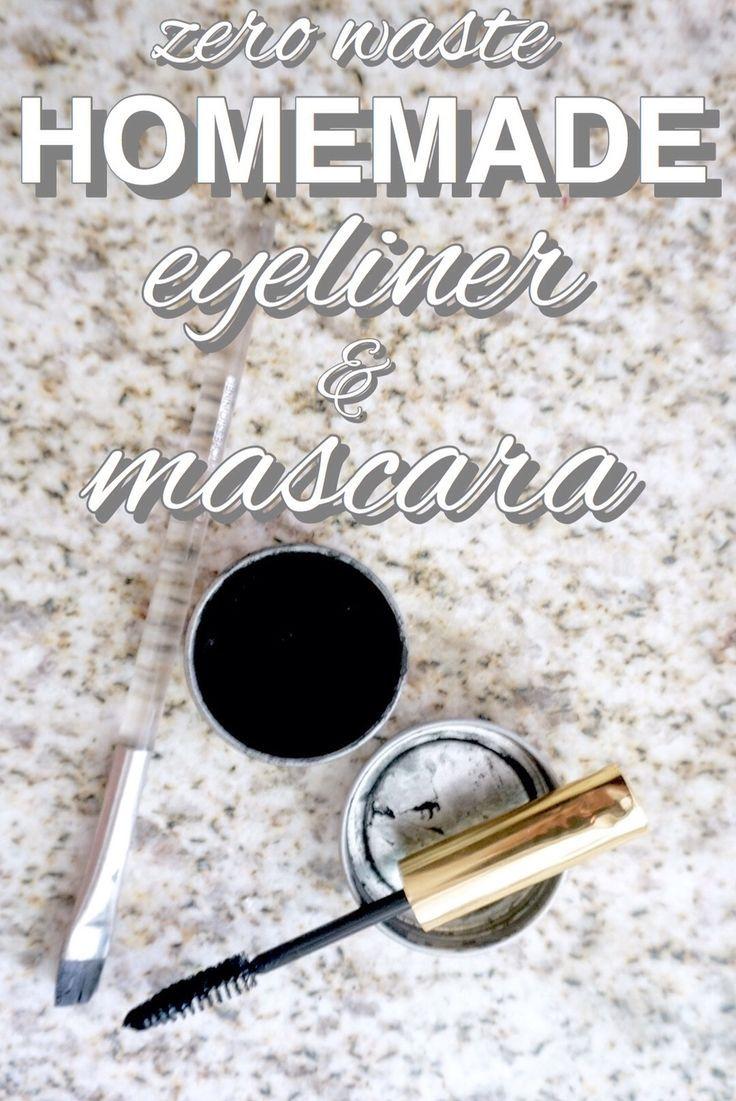 Homemade, diy, zero waste eyeliner and mascara.