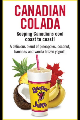 Booster Juice's Canadian Colada!  A delicious blend of pineapples, coconut, bananas and vanilla frozen yogurt!