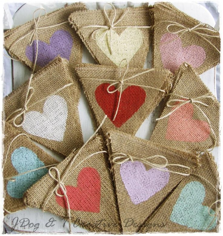 BURLAP LOVE HEART BUNTING HESSIAN RUSTIC COUNTRY VINTAGE WEDDING ...