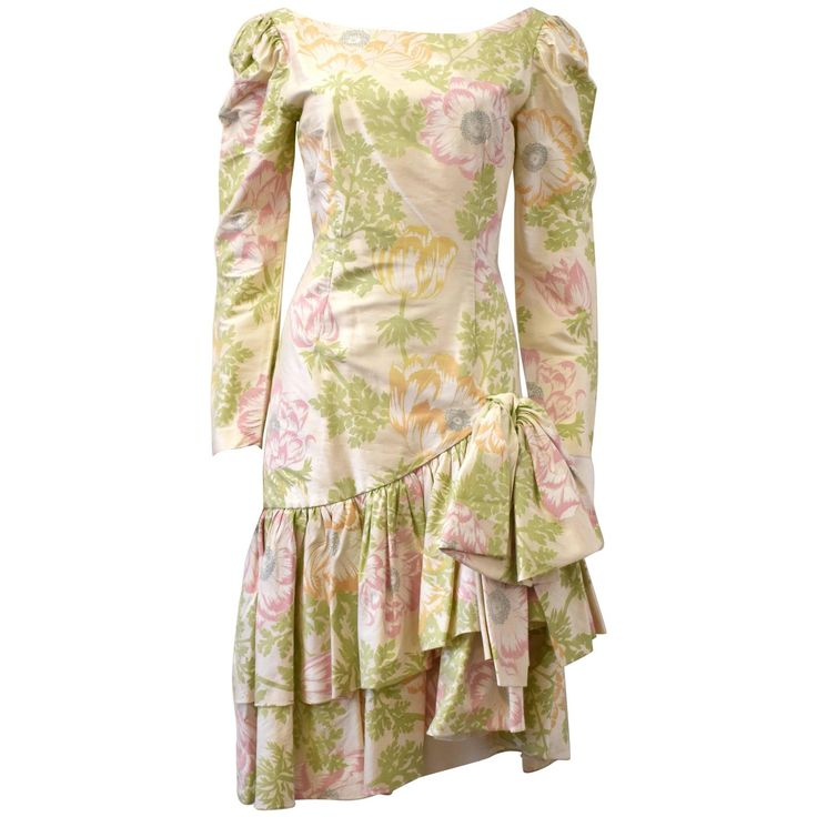 1980s Gina Fratini Silk Hand-painted Floral Silk Dress   From a collection of…