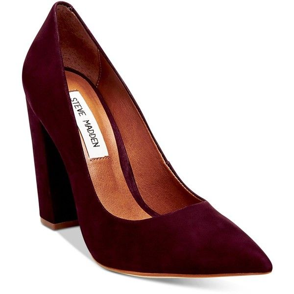 Steve Madden Primpy Pumps ($99) ❤ liked on Polyvore featuring shoes, pumps, burgundy nubuck, chunky shoes, steve madden pumps, steve-madden shoes, almond toe pumps and block heel shoes