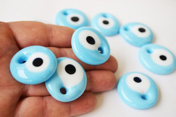 3 pcs Pastel Turquoise Evil Eye Beads Charm by PrettyTurkishThings