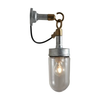 Well Glass Wall Light, Galvanised, Clear Glass
