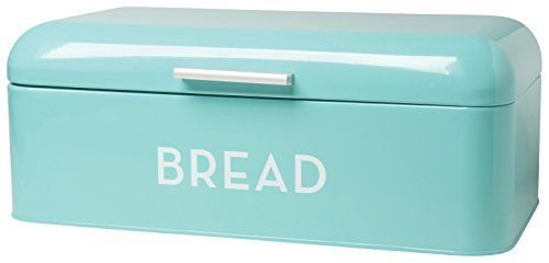 This sleek Bread Bin is the perfect storage solution for bread, buns, baguettes and bagels alike! The lid swings up easily and small holes at the back allow air to circulate. Thanks to the shiny red color, simple handle and vintage font, this bread bin is a pleasing blend of yesteryear and contemporary modern design. Sturdy and durable, the Bread Bin is made from hearty powder coated steel and measures 16 Inch long, 9 Inch wide and 6.5 Inch tall.