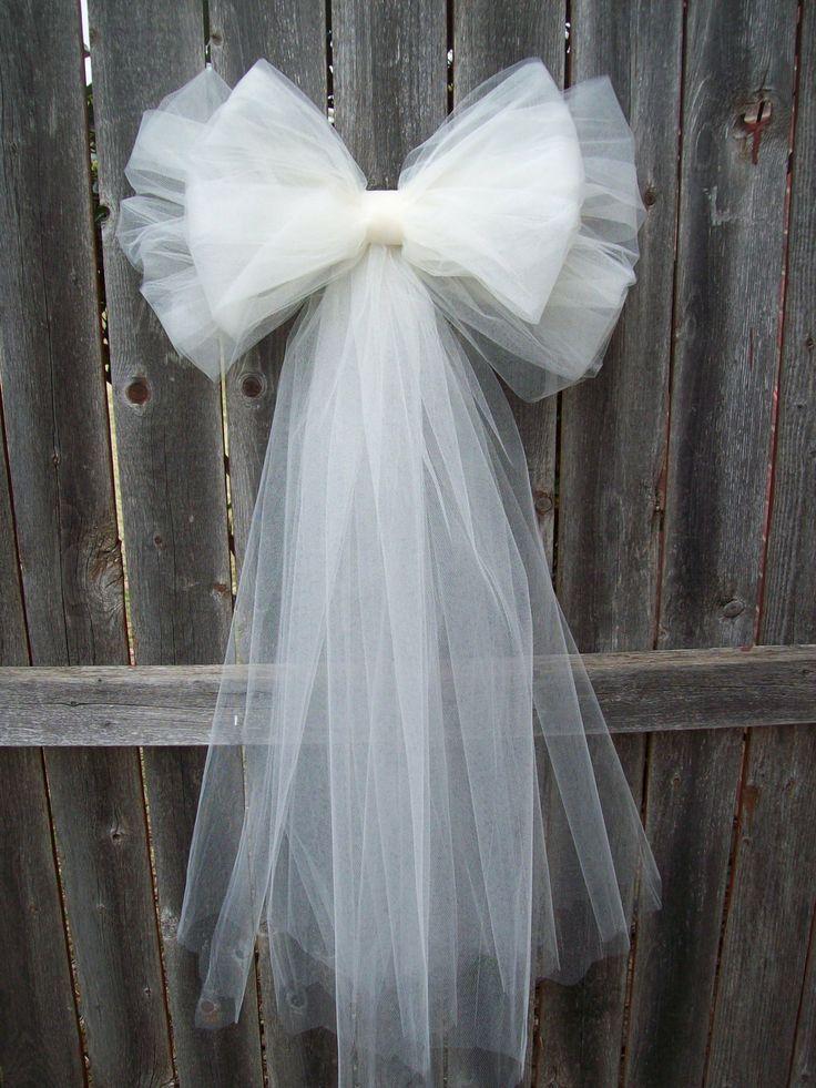 wedding church pew bows | White Tulle Pew Bow Ivory Pew Bow Tulle Church Pew by OneFunDay, $14 ...