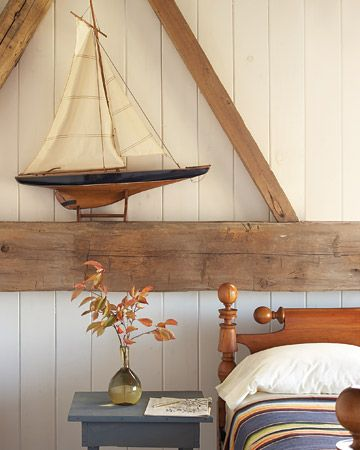 every room needs a sailboat: Idea, Sailboats, Nautical Bedrooms, Boys Rooms, Martha Stewart, Beaches Houses, Guest Rooms, Barns Wood, Wood Beams