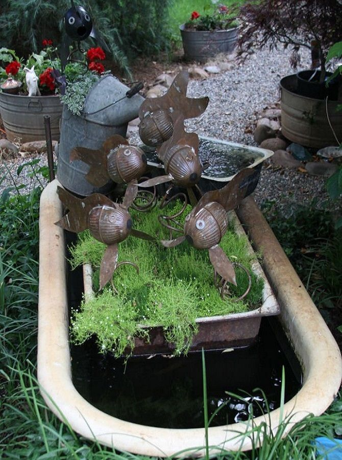 17 best images about old porcelin bathtub water features for Garden pond water features