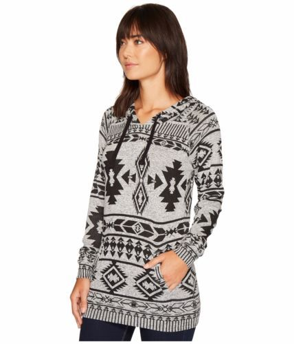 Rock N & Roll Cowgirl Womens Black & Gray Aztec Long Sleeve Pull Over Hoodie NWT