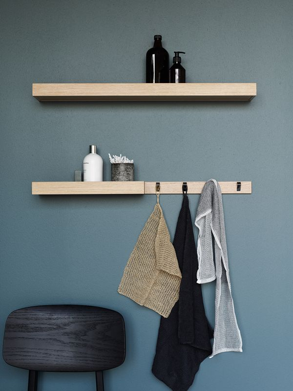 Add Dansani's open shelves and matching racks to create simple, clean lines in your bathroom.