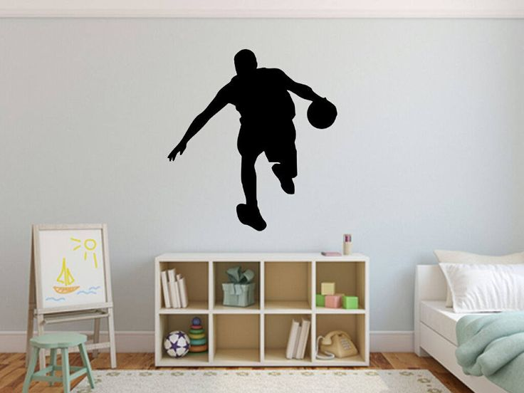 Basketball Player Dribbling Silhouette Wall Decal, Vinyl Basketball Wall  Decals, Basket Player Wall Decal