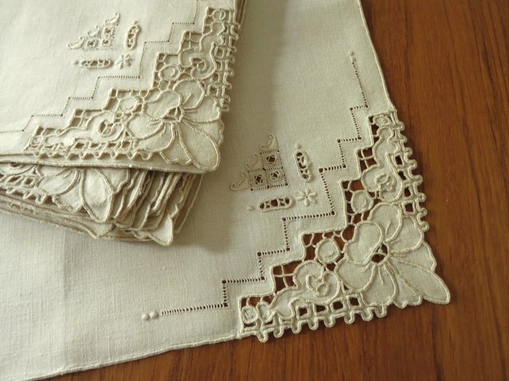 Gorgeous Elaborate Antique Vtg Linen Cutwork Embroidery 8 Placemats 8 Napkins | eBay