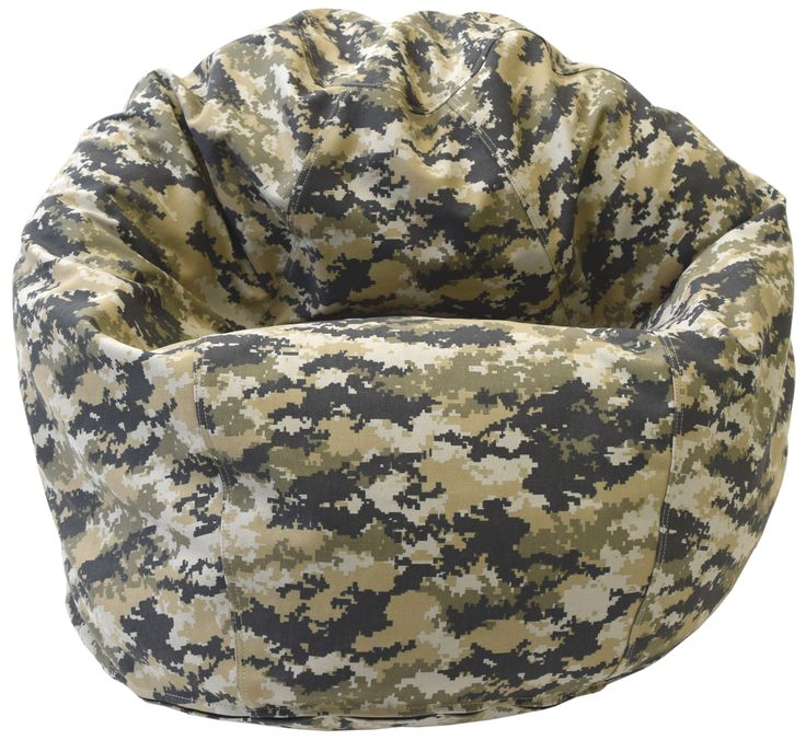 Ages 2-11, cotton fabric, cotton liner, different fill options. Bean bags, bean bag chairs, small bean bag, camouflage, bean bag kids, bean bag pattern.