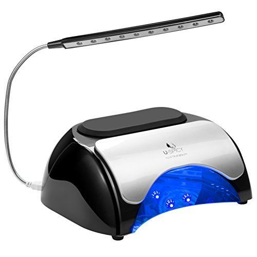 USpicy 48W LED UV Nail Dryer Nail Lamp for Gel Polishes with Automatic Sensor, Pull-down Cover, USB Light (Double press the 120s timer button to turn on the USB Light) and Three Timer Settings. For product & price info go to:  https://beautyworld.today/products/uspicy-48w-led-uv-nail-dryer-nail-lamp-for-gel-polishes-with-automatic-sensor-pull-down-cover-usb-light-double-press-the-120s-timer-button-to-turn-on-the-usb-light-and-three-timer-settings/