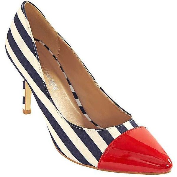 Nautical Court Shoes (205 RON) ❤ liked on Polyvore featuring shoes, pumps, print pumps, patterned pumps, nautical shoes, patterned shoes and print shoes