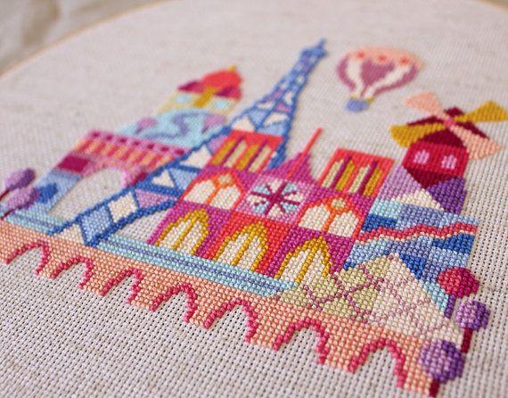 Pretty Little Paris Modern Cross stitch by SatsumaStreet on Etsy