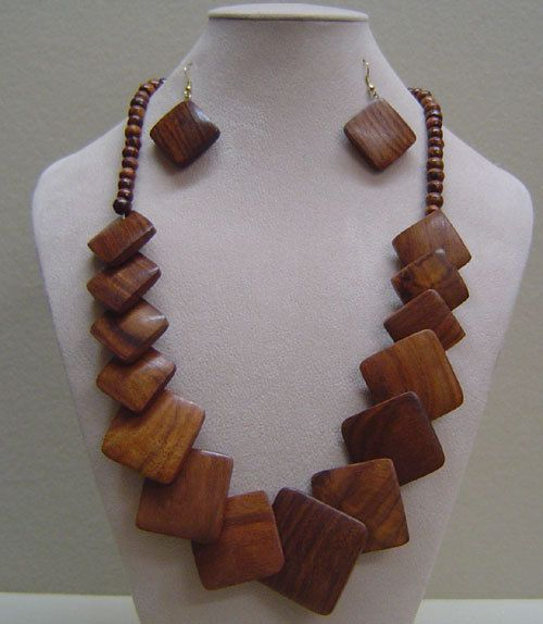 "Wooden Necklace Sets -  Necklaces is 18-20"" circumference and Earrings are 1""."