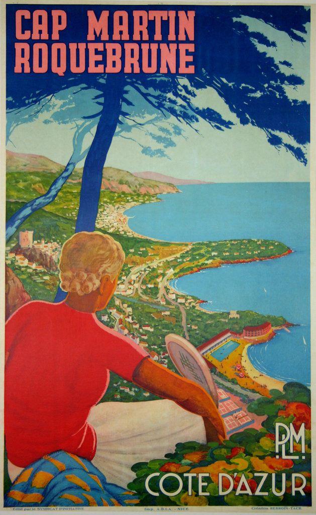 Cap Martin Roquebrune Côte d'Azur - France -1930 - illustration de Rebroin-Tack