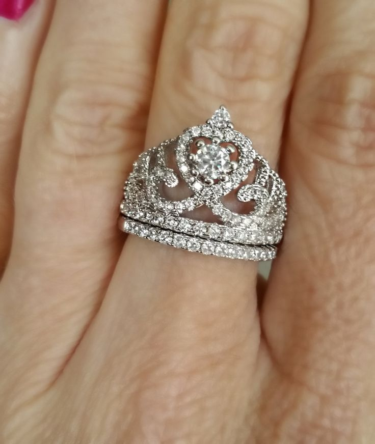 Sterling Silver Queen Princess Tiara Cubic Zirconia Promise Ring Set by LenaMayJewelley on Etsy