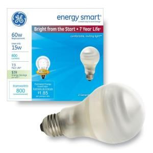 GE Bright From The Start 15-Watt (60W) A19 General Purpose Soft White Compact Fluorescent Light Bulb (2-Pack) (E)*-64159 at The Home Depot