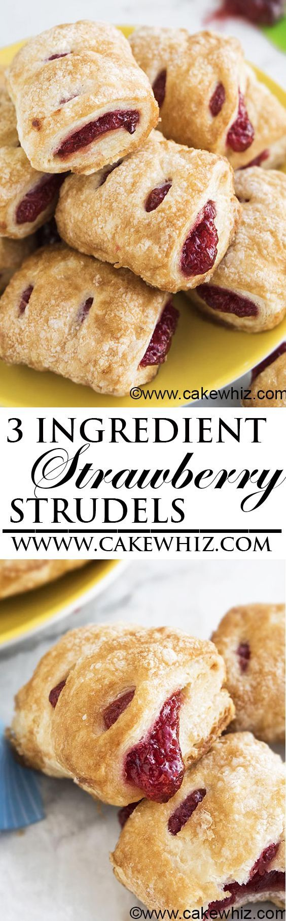 These EASY STRAWBERRY STRUDELS have perfect flaky sugary crispy tops with fruity berry fillings. Great as a Summer snack and ready in just 30 minutes with 3 ingredients! From cakewhiz.com